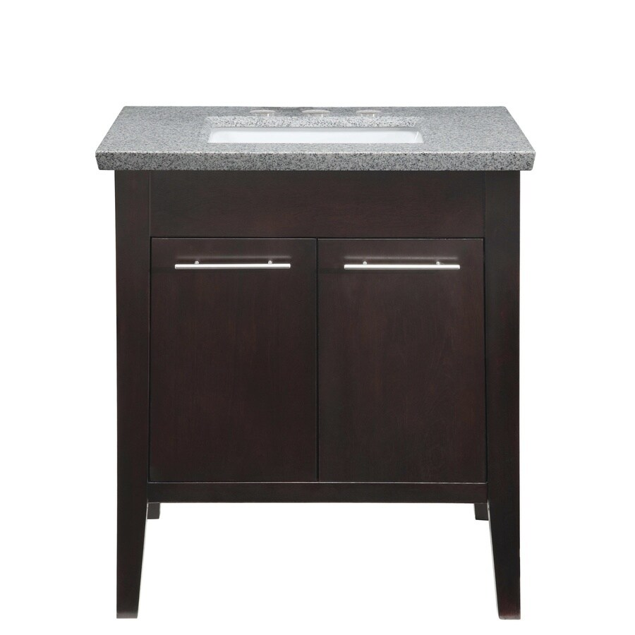allen + roth Contemporary Espresso Undermount Single Sink Poplar Bathroom Vanity with Granite Top (Common: 30-in x 22-in; Actual: 30-in x 21-in)