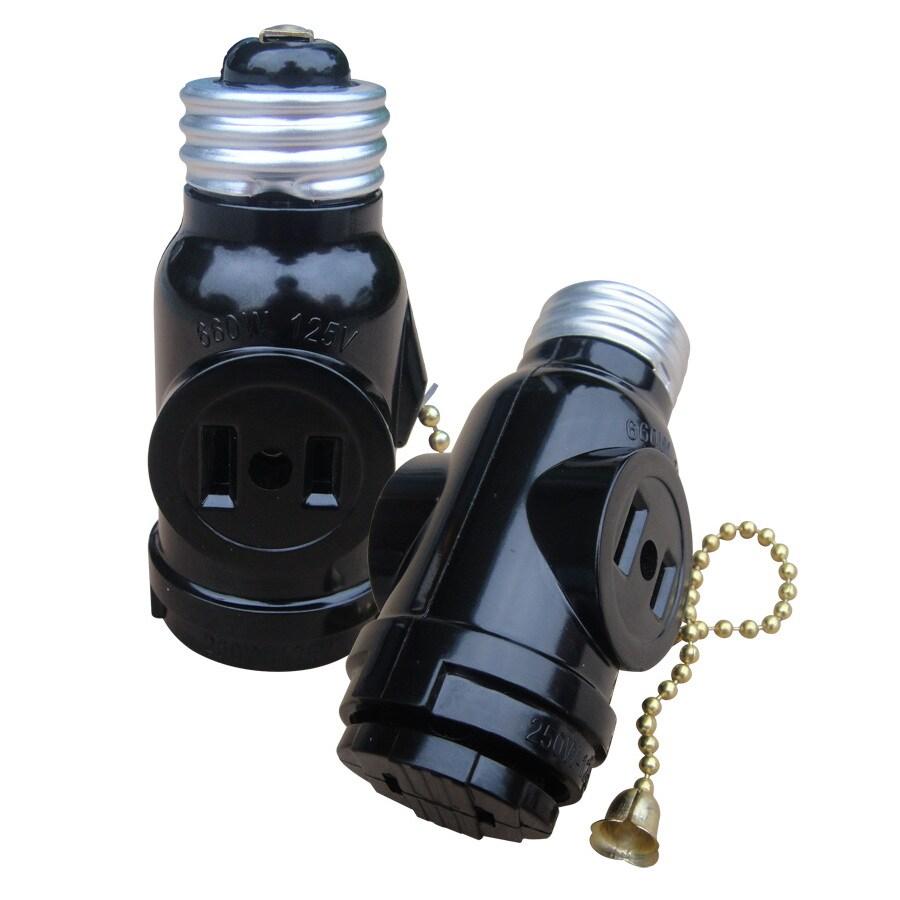 Utilitech 660-Watt Black Medium Light Socket Adapter with Pull Chain
