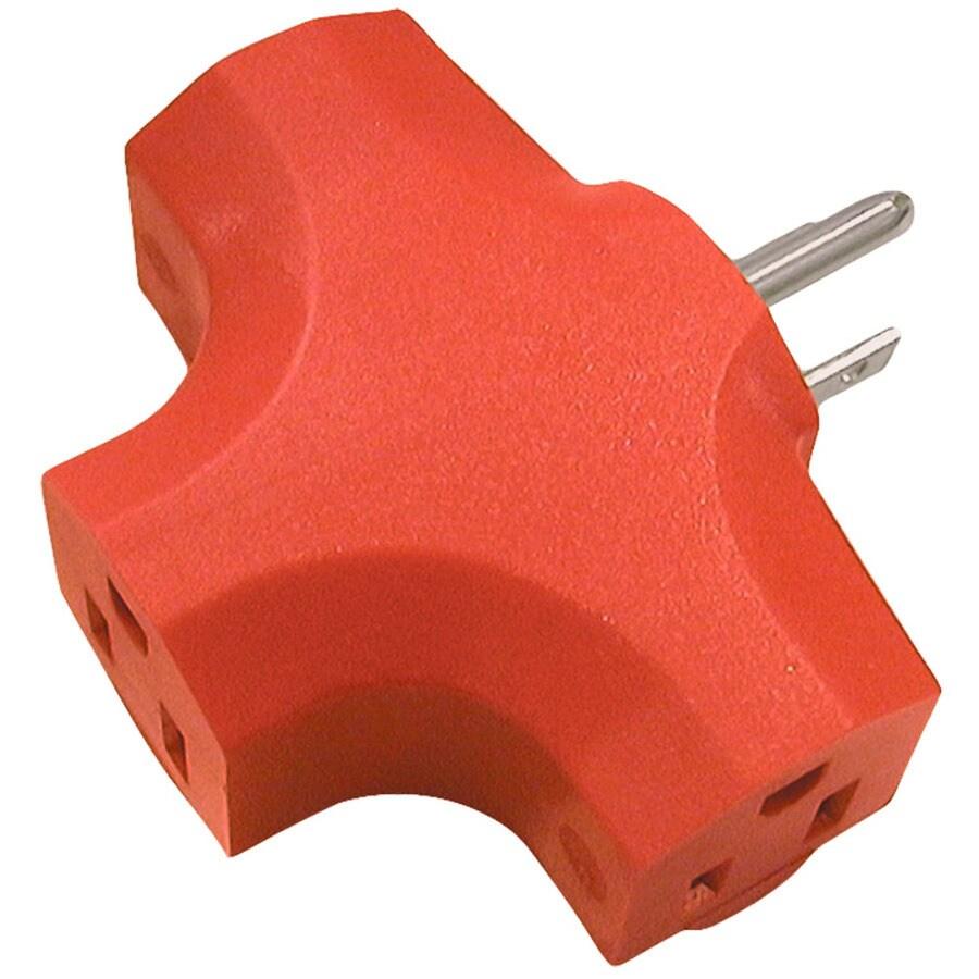 15-Amp 3-Wire Grounding Single to Triple Orange Basic Adapter