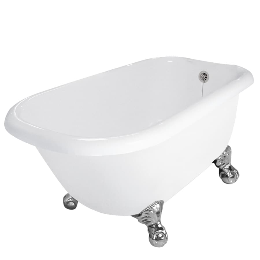 American Bath Factory Jester Acrylic Round Clawfoot Bathtub with Reversible Drain (Common: 30-in x 54-in; Actual: 24-in x 30-in x 54-in)
