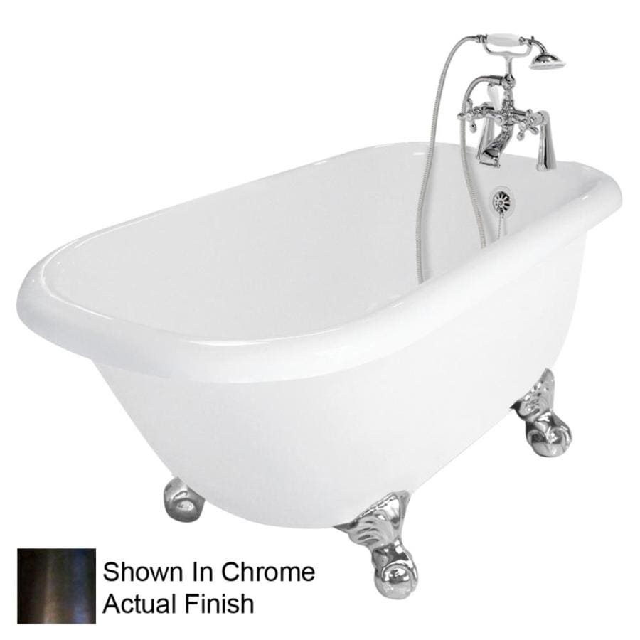American Bath Factory Trinity Acrylic Round Clawfoot Bathtub with Reversible Drain (Common: 30-in x 60-in; Actual: 24-in x 30-in x 60-in)