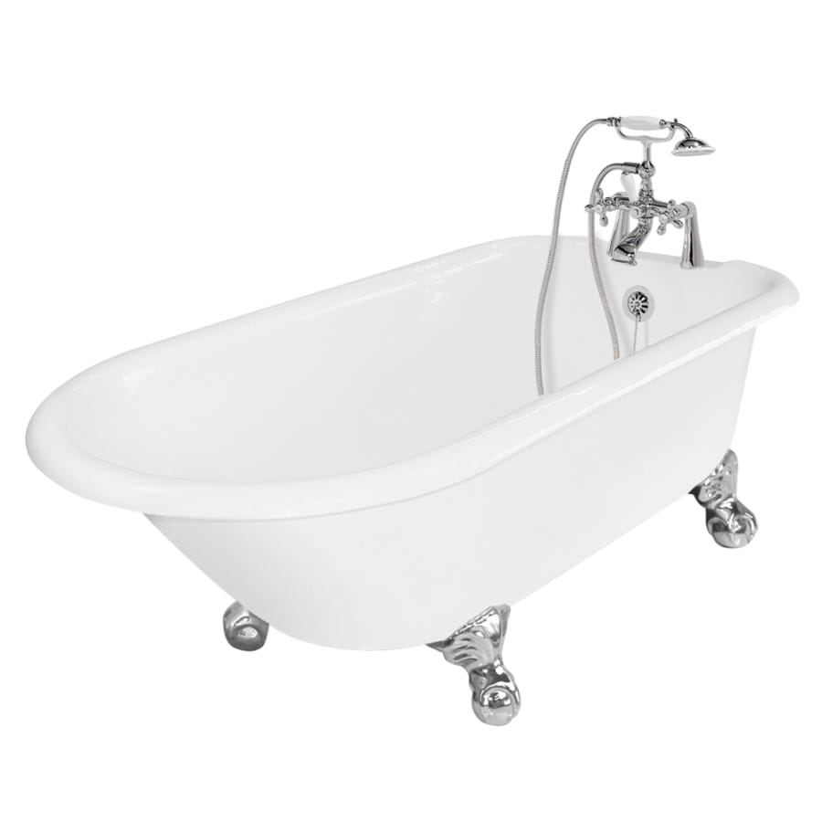American Bath Factory Windsor Cast Iron Round Clawfoot Bathtub with Reversible Drain (Common: 31-in x 61-in; Actual: 24-in x 31-in x 61-in)