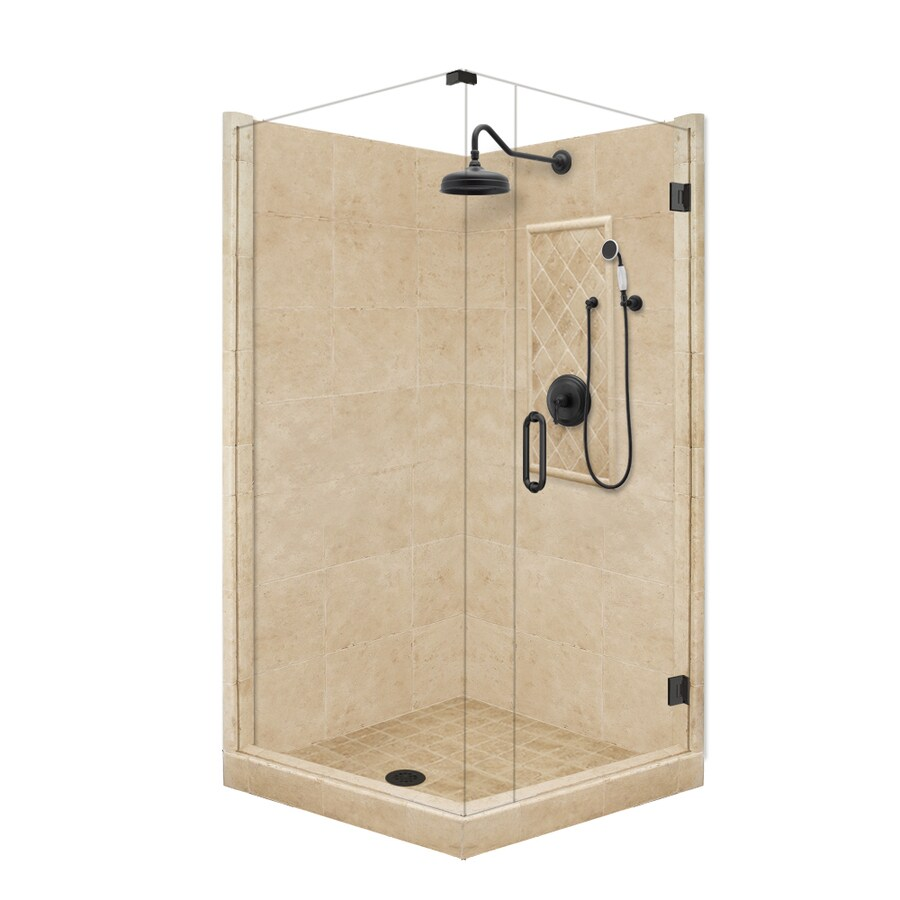 American Bath Factory 86-in H x 36-in W x 60-in L Grand Medium Sistine Stone Square Corner Shower Kit