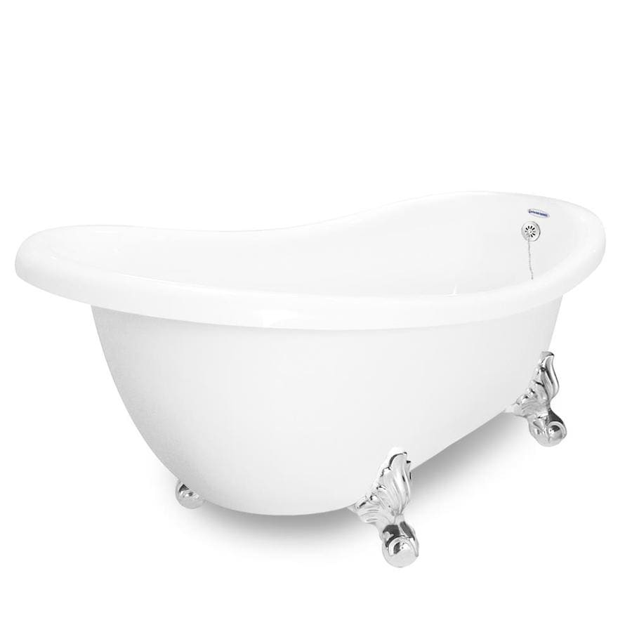 American Bath Factory Churchill Acrylic Oval Clawfoot Bathtub with Reversible Drain (Common: 35-in x 71-in; Actual: 30-in x 35-in x 71-in)