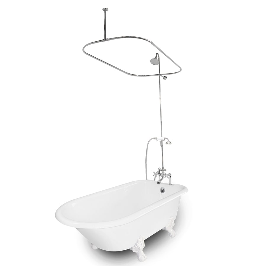 American Bath Factory Windsor Cast Iron Oval Bathtub with Reversible Drain (Common: 31-in x 61-in; Actual: 24-in x 31-in x 61-in)