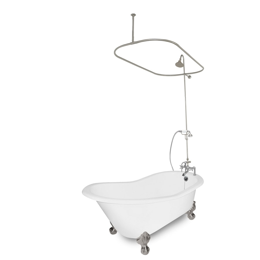 American Bath Factory Wintess Cast Iron Oval Bathtub with Reversible Drain (Common: 31-in x 61.5-in; Actual: 31-in x 31-in x 61.5-in)