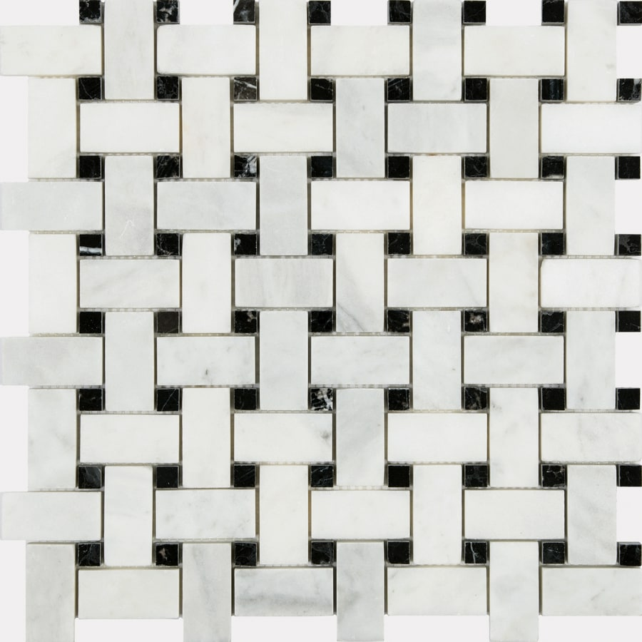 Anatolia Tile Venatino Polished Basketweave Mosaic Marble Wall Tile (Common: 12-in x 12-in; Actual: 12-in x 12-in)