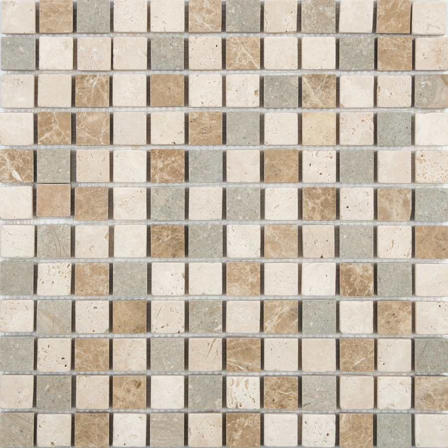 shop anatolia tile countryside uniform squares mosaic travertine wall tile common 12 in x 12. Black Bedroom Furniture Sets. Home Design Ideas