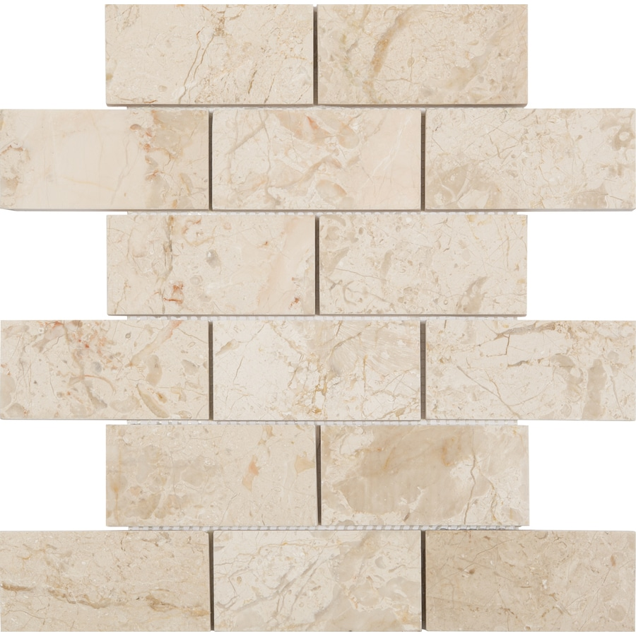 Anatolia Tile Marfil Polished Subway Mosaic Natural Stone Marble Thinset Mortar Wall Tile (Common: 12-in x 12-in; Actual: 10-in x 12-in)