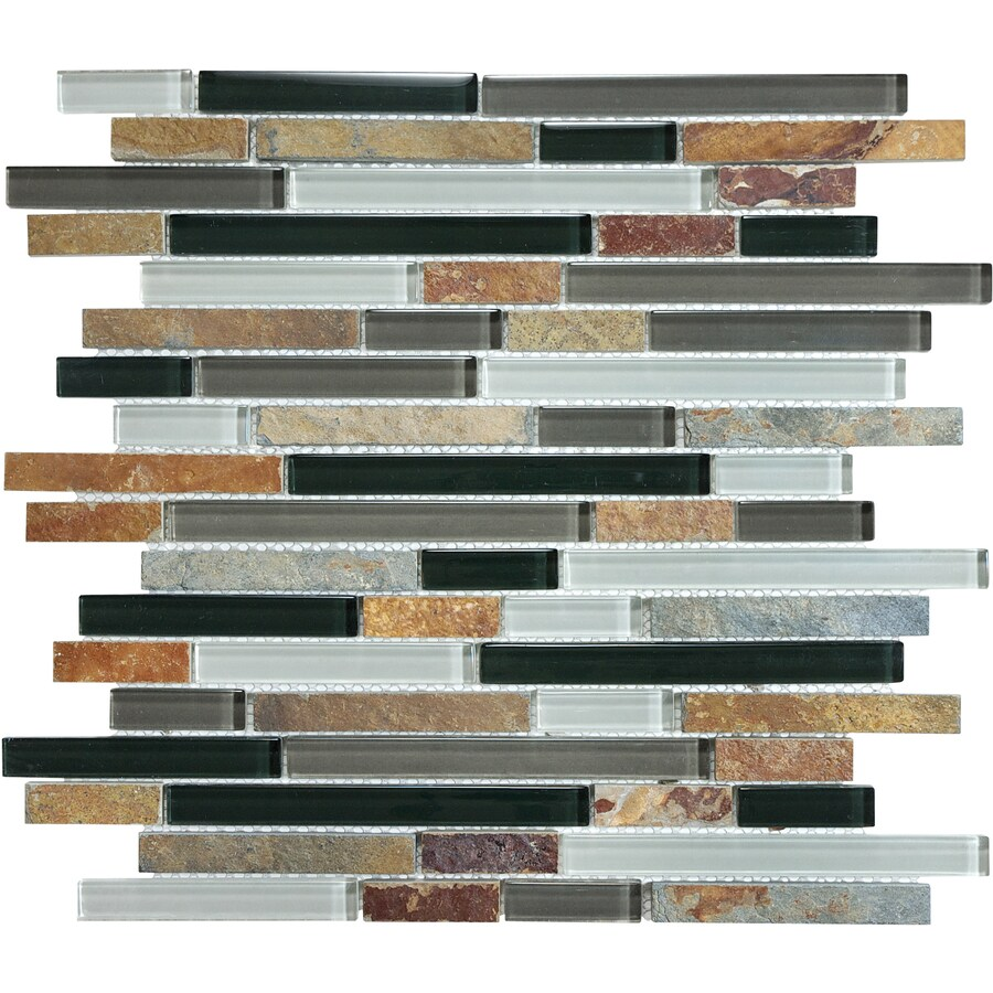 Graphite Linear Mosaic Stone and Glass Wall Tile (Common: 12-in x 12-in; Actual: 11.88-in x 12-in)