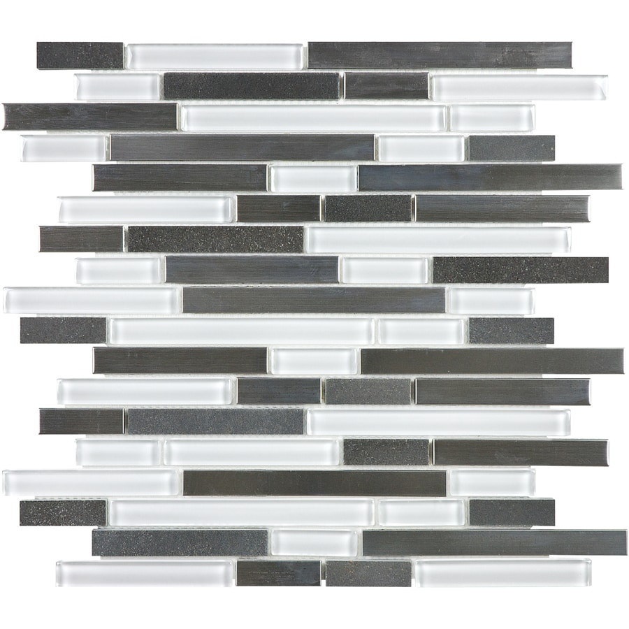 allen + roth Glacier Links Linear Mosaic Glass/Metal/Stone Wall Tile (Common: 12-in x 12-in; Actual: 11.74-in x 12-in)
