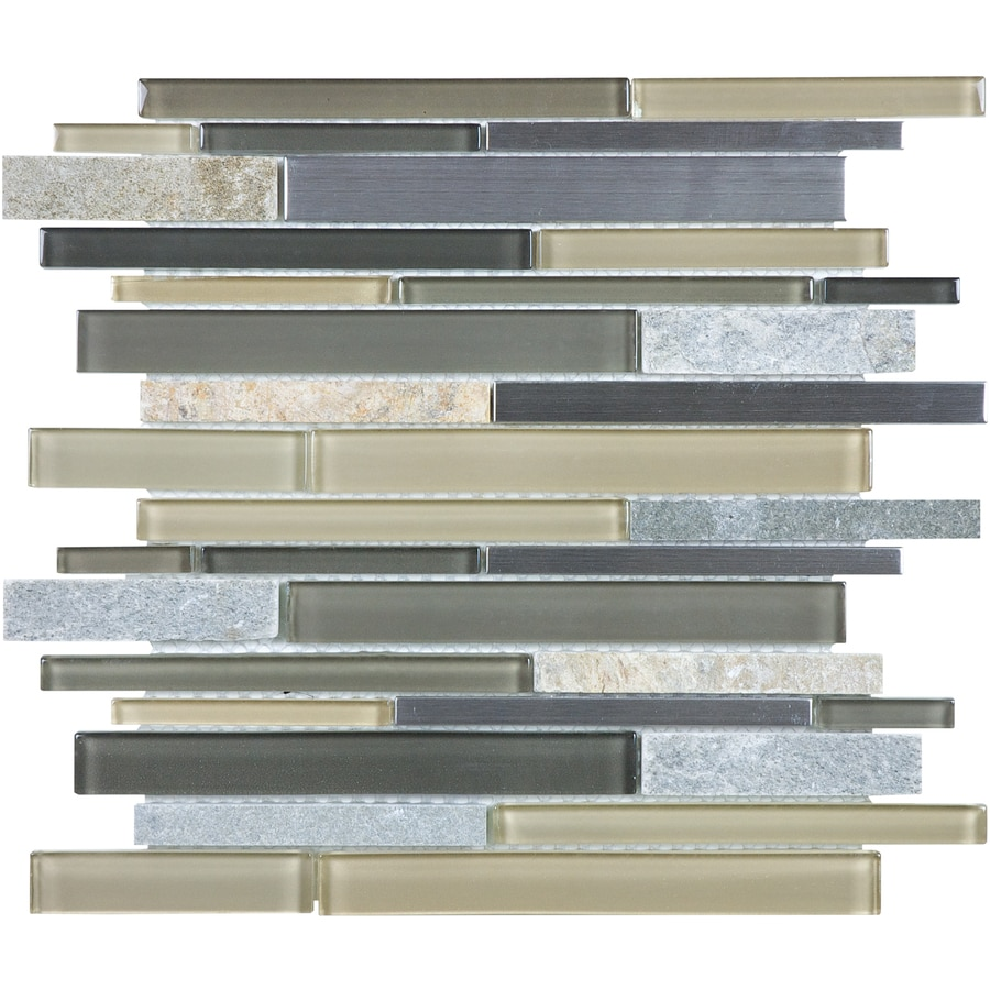 allen + roth Lakeshore Mosaic Glass/Metal/Stone Wall Tile (Common: 12-in x 12-in; Actual: 11.75-in x 11.93-in)