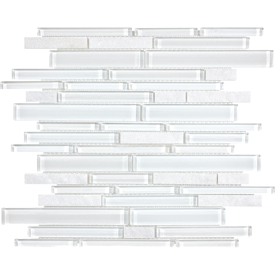 Anatolia Tile Alaskan White Linear Mosaic Stone and Glass Quartz Wall Tile (Common: 12-in x 12-in; Actual: 11.61-in x 11.85-in)