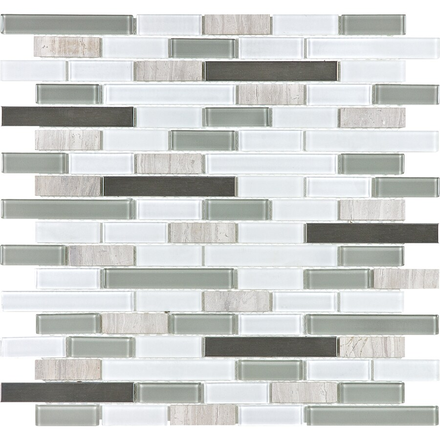 Coastal Blend Mixed Material Mosaic Wall Tile (Common: 12-in x 12-in; Actual: 12-in x 12.5-in)