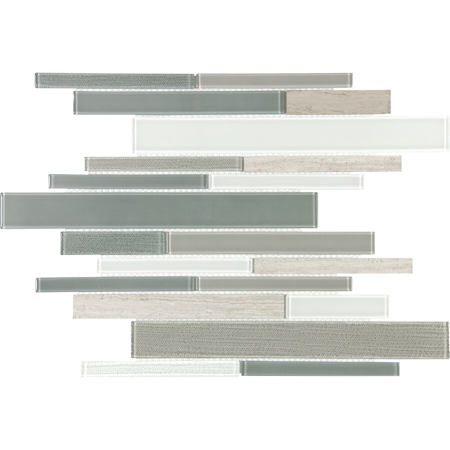 Anatolia Tile Warm Winter Linear Mosaic Stone and Glass Marble Wall Tile (Common: 12-in x 12-in; Actual: 11.25-in x 11.73-in)