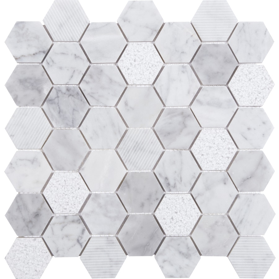 Shop Anatolia Tile Carrara Honeycomb Mosaic Marble Wall Tile (Common: 12-in x 12-in; Actual: 11 ...