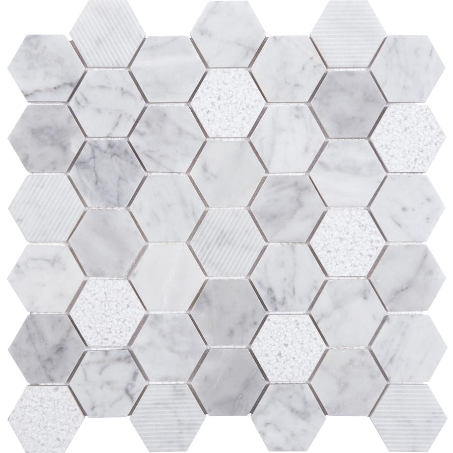 Shop Anatolia Tile Carrara Honeycomb Mosaic Marble Wall