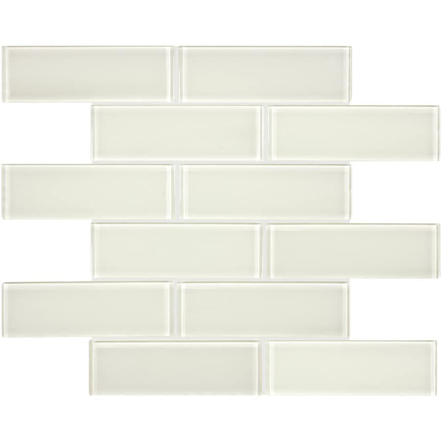 Anatolia Tile Studio Sand Subway Mosaic Glass Wall Tile (Common: 12-in x 12-in; Actual: 11.73-in x 11.73-in)