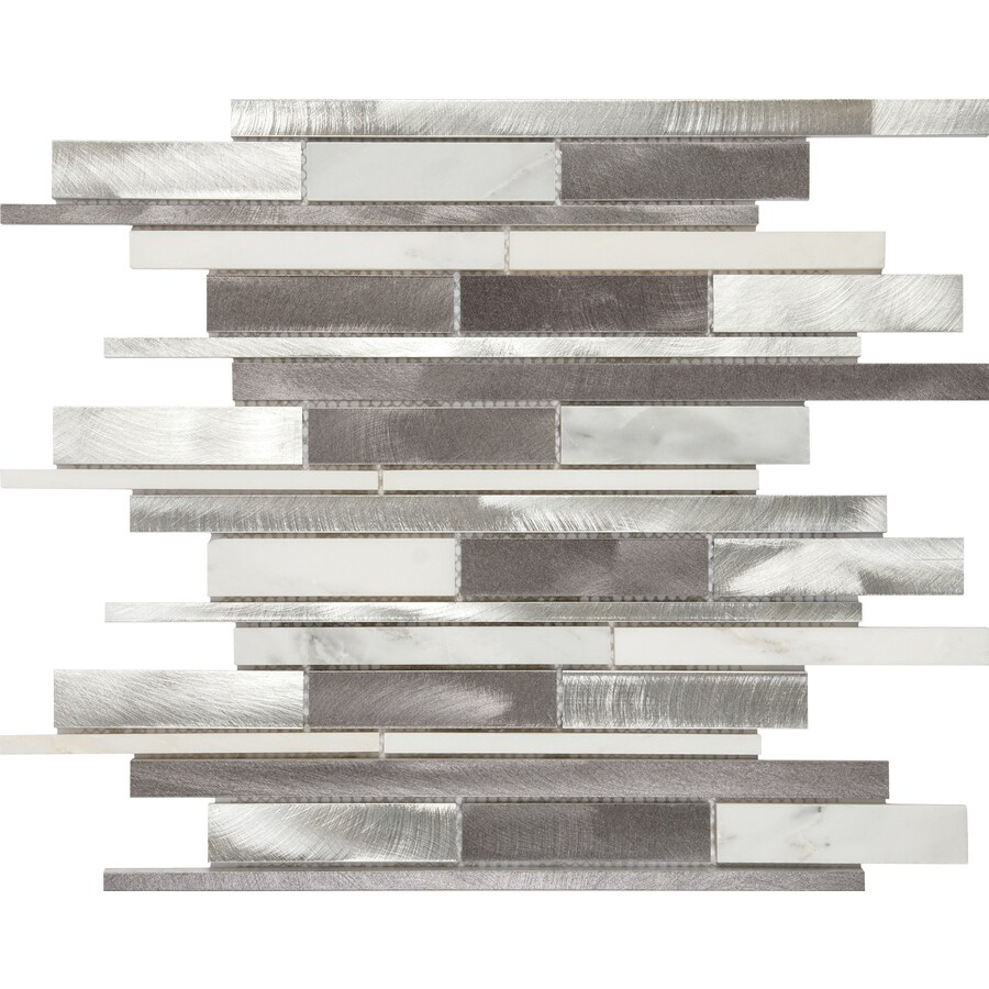 Anatolia Tile Sleek Ice Linear Mosaic Metal and Stone Wall Tile (Common: 12-in x 12-in; Actual: 11.73-in x 12.2-in)