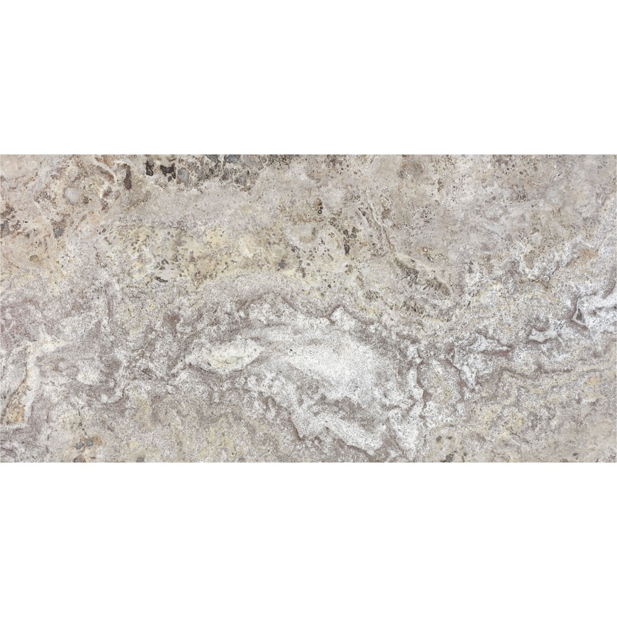 Anatolia Tile 4-Pack Silver Ash Travertine Floor and Wall Tile (Common: 12-in x 24-in; Actual: 24-in x 12-in)