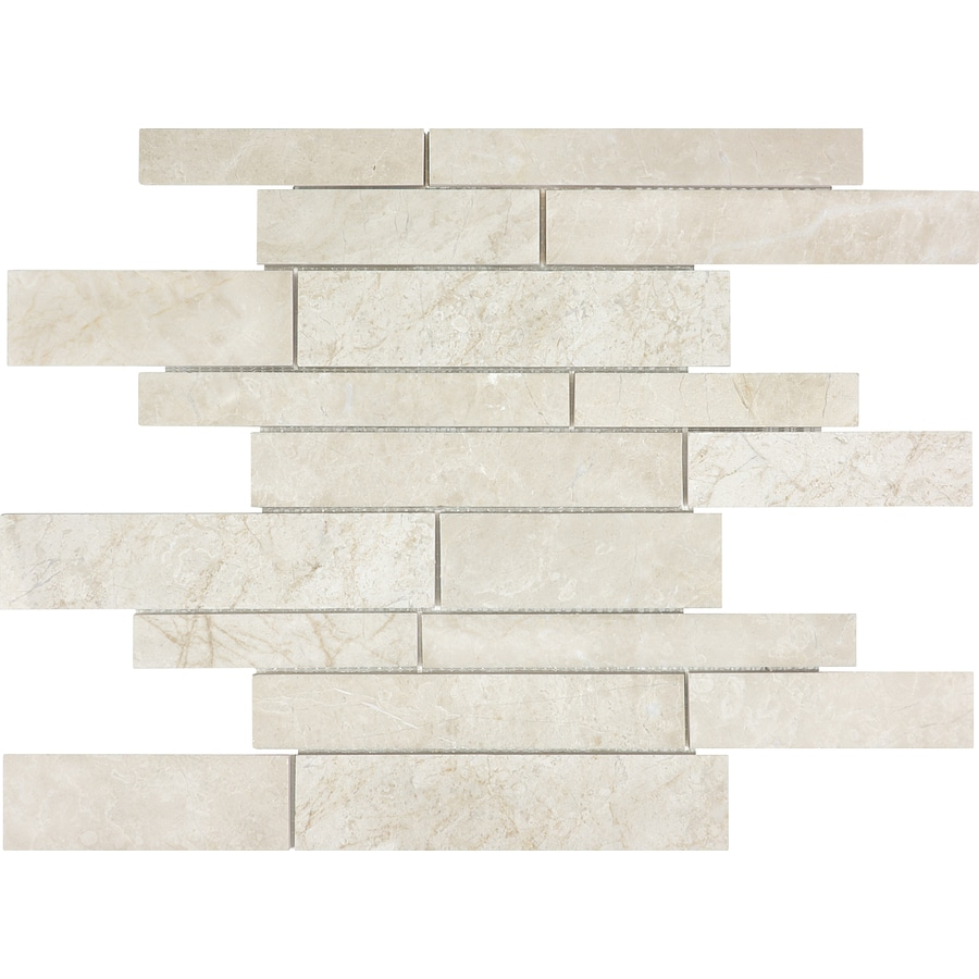 Shop anatolia tile crema luna linear mosaic natural stone for Fan size for 12x12 room
