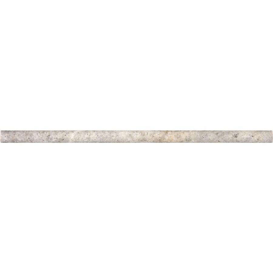 Anatolia Tile Silver Ash Silver Ash Travertine Pencil Liner Tile (Common: 5/8-in x 12-in; Actual: 12.008-in x 0.51-in)