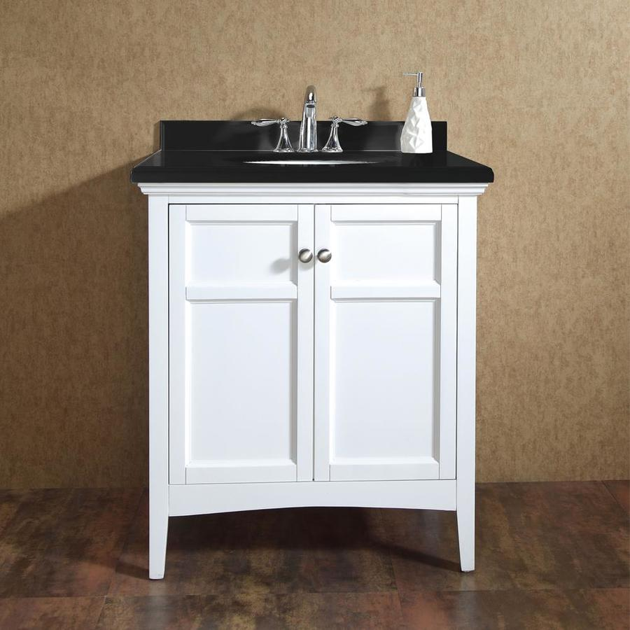 Shop ove decors campo pure white undermount single sink birch bathroom vanity with cultured - Cultured marble bathroom vanity tops ...