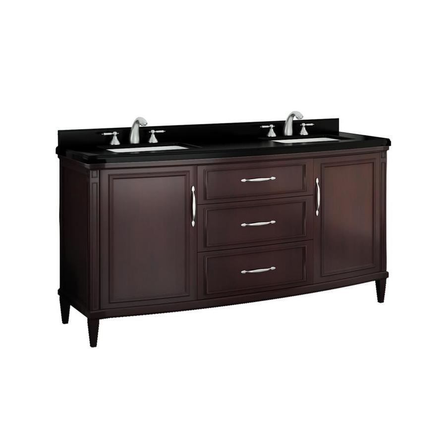 Shop ove decors rose cocoa undermount double sink birch bathroom vanity with granite top common - Double bathroom vanities granite tops ...