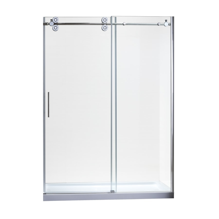 allen + roth 58-in to 60-in W x 78.7-in H Chrome Sliding Shower Door