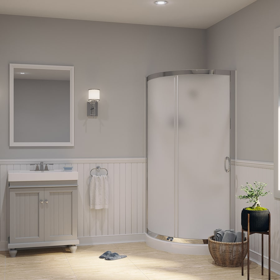 OVE Decors Breeze Paris Chrome Acrylic Wall and Floor Round 4-Piece Corner Shower Kit (Actual: 76-in x 31-in x 31-in)