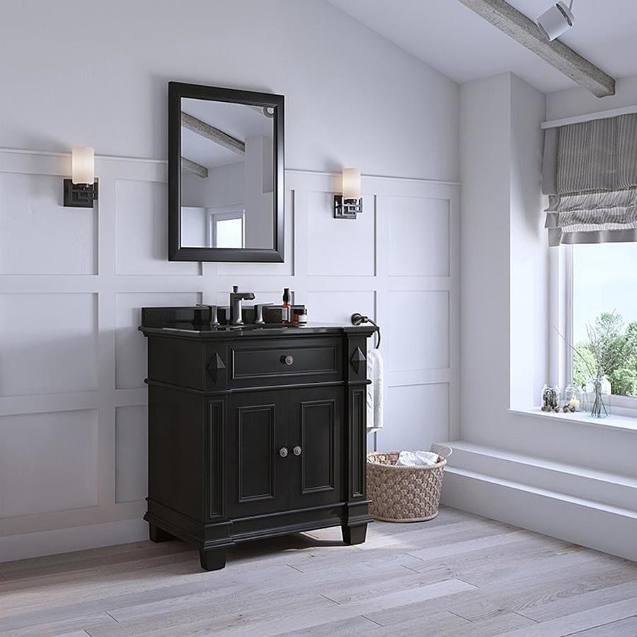 OVE Decors Essex Antique Black Undermount Single Sink Birch Bathroom Vanity with Granite Top (Common: 31-in x 22-in; Actual: 31-in x 23-in)
