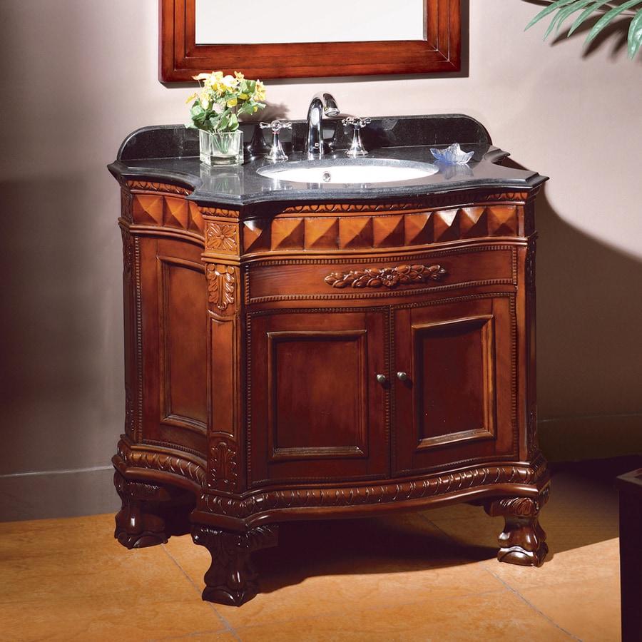 OVE Decors Buckingham Dark Cherry Undermount Single Sink Birch Bathroom Vanity with Granite Top (Common: 36-in x 22-in; Actual: 36-in x 20-in)
