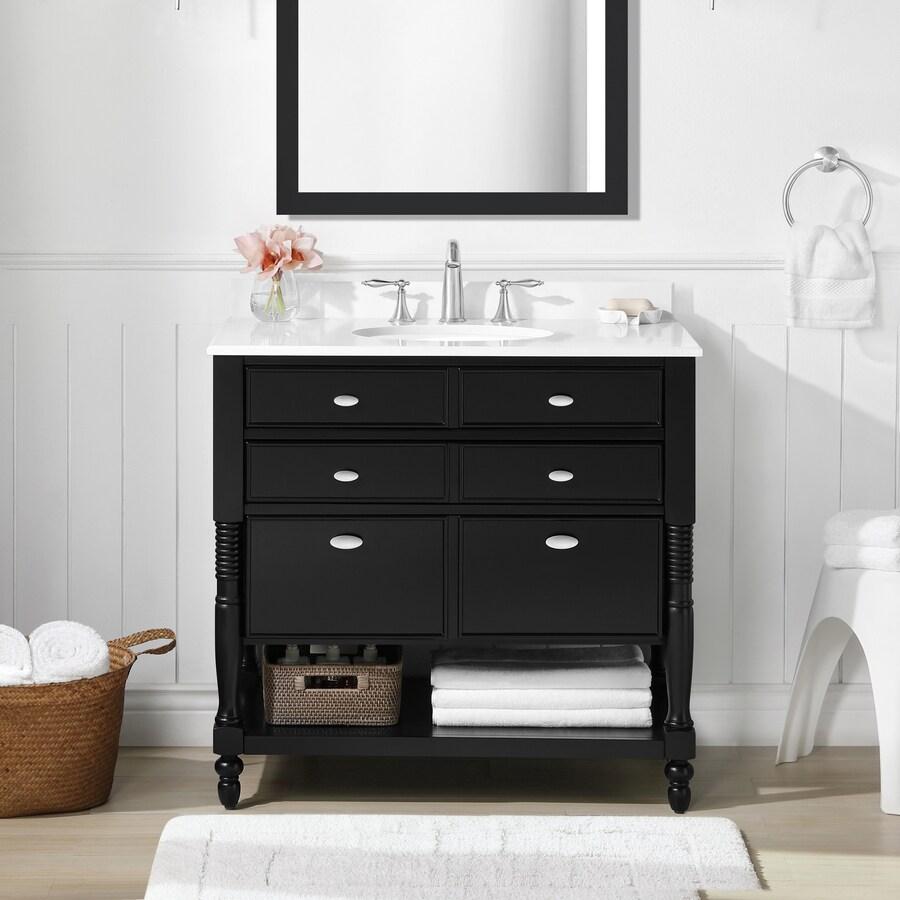 OVE Decors Elizabeth Espresso Undermount Single Sink Birch Bathroom Vanity with Cultured Marble Top (Common: 36-in x 22-in; Actual: 36-in x 21-in)