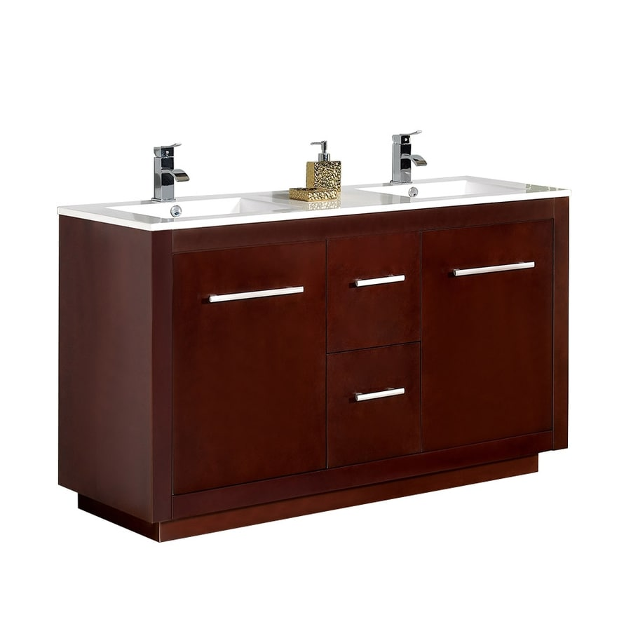Shop Ove Decors Cubix Chocolate Integral Double Sink Birch Bathroom Vanity With Solid Surface