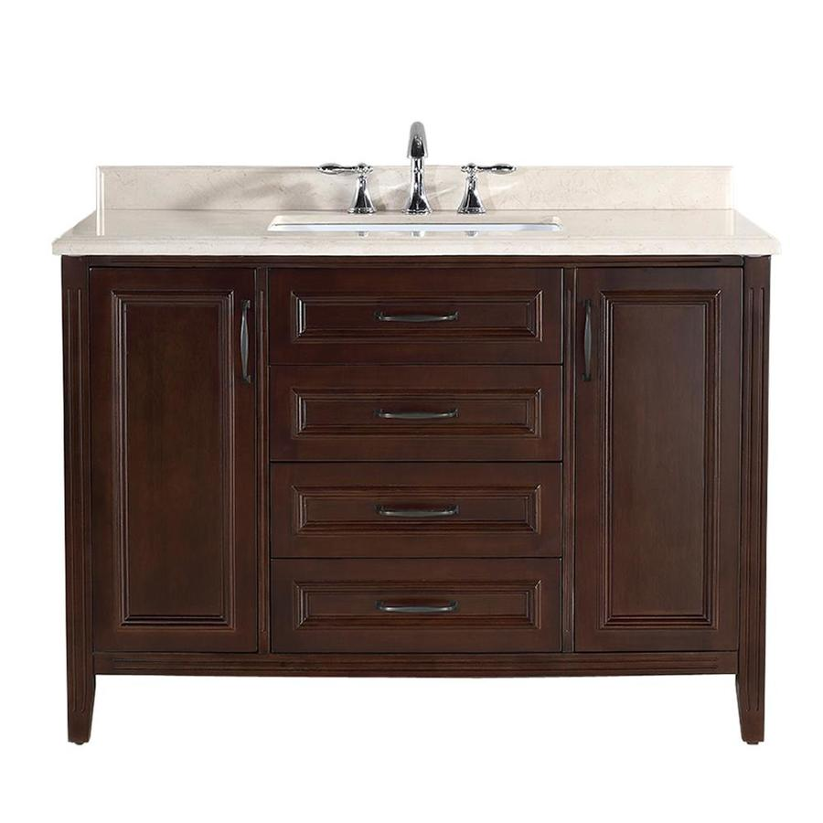 Shop ove decors daniel cocoa undermount single sink birch bathroom vanity with natural marble Used bathroom vanity with sink