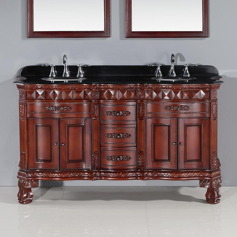 OVE Decors Buckingham Dark Cherry Undermount Double Sink Birch Bathroom Vanity with Natural Marble Top (Common: 60-in x 20-in; Actual: 60-in x 20-in)