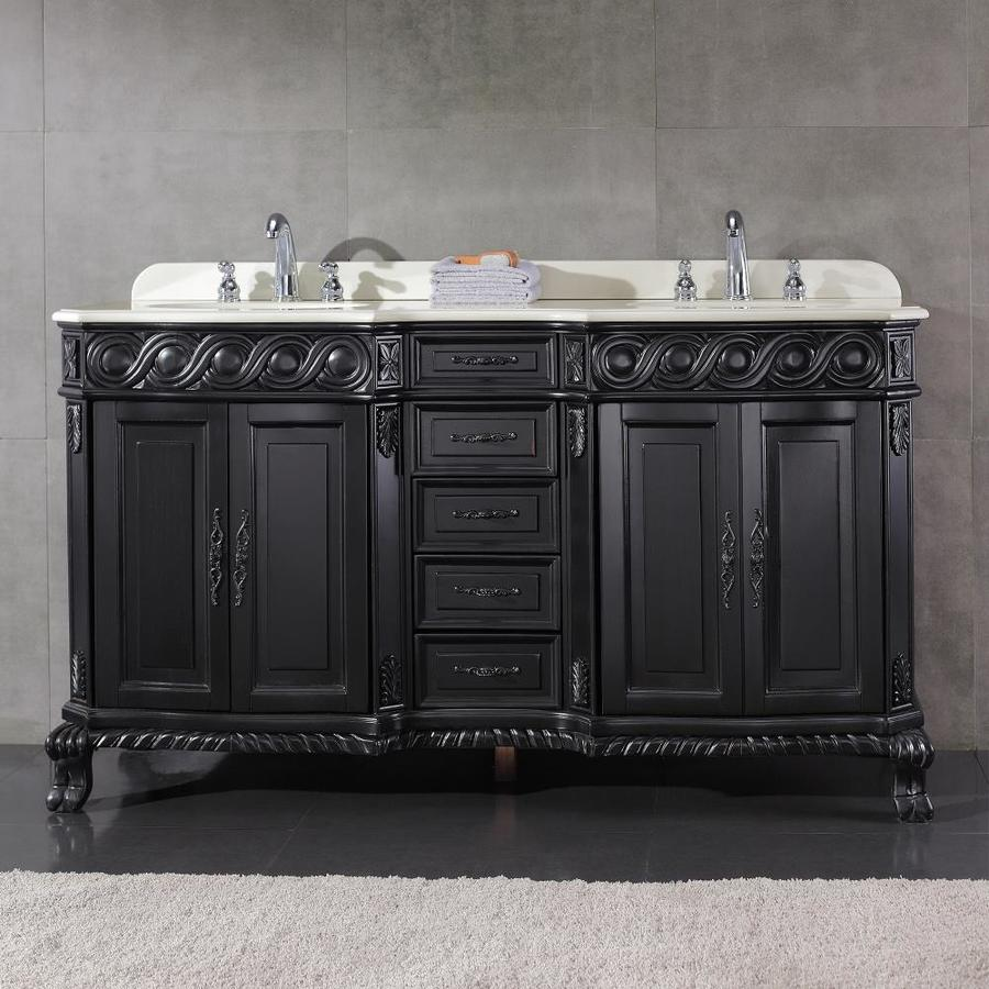 Shop ove decors trent antique black undermount double sink birch bathroom vanity with cultured - Cultured marble bathroom vanity tops ...