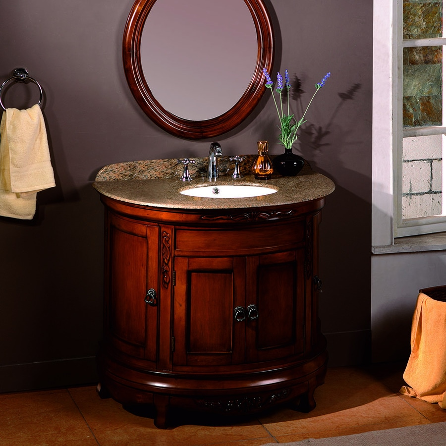 OVE Decors Victoria Light Cherry Undermount Single Sink Birch Bathroom Vanity with Granite Top (Common: 36-in x 21-in; Actual: 36-in x 21-in)