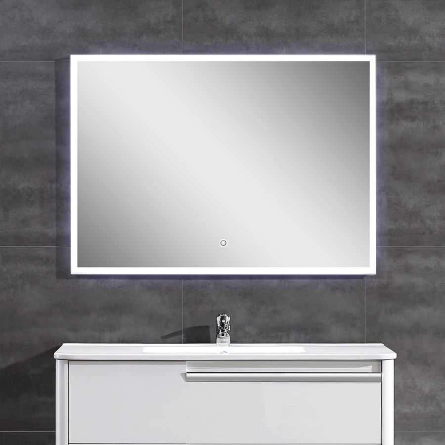 OVE Decors Saros 39-in W x 28-in H Lighted Rectangular Frameless Bathroom Mirror with Polished Edges