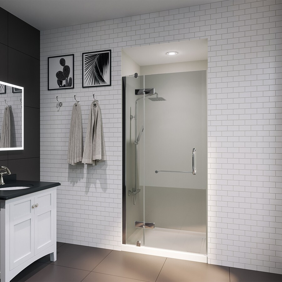 OVE Decors Shelby 34.25-in to 34.75-in Frameless Hinged Shower Door