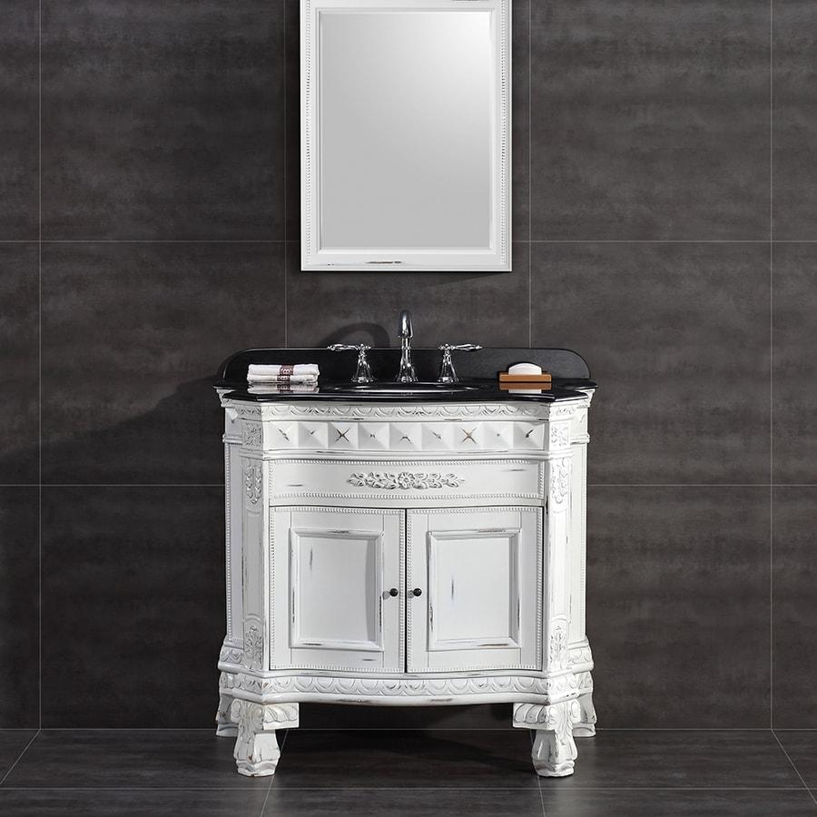 OVE Decors York Antique White Undermount Single Sink Birch Bathroom Vanity with Granite Top (Common: 36-in x 20-in; Actual: 36-in x 20-in)