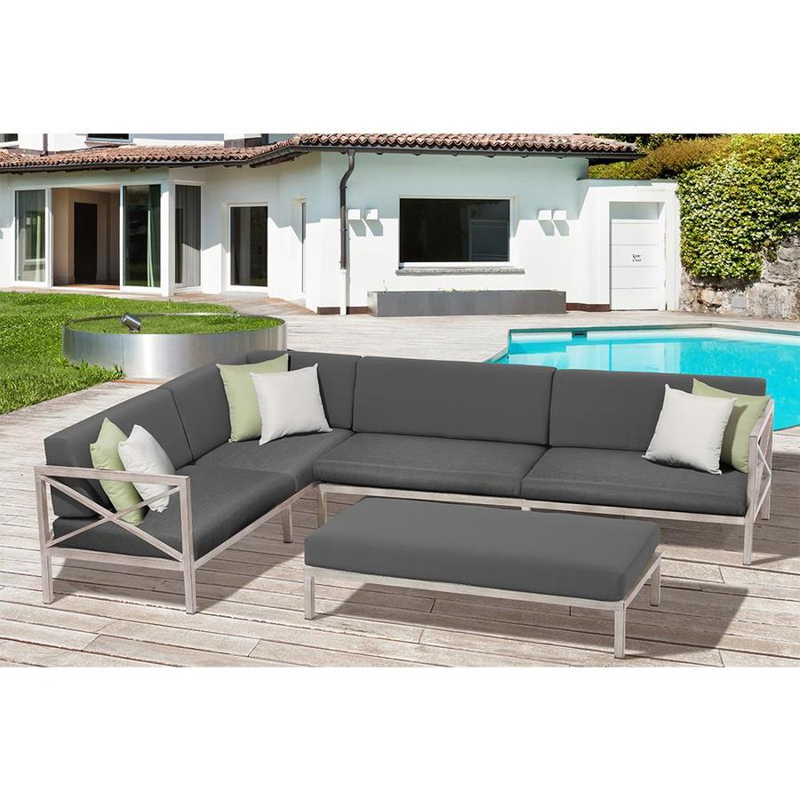 OVE Decors Pasadena 3-Piece Aluminum Patio Conversation Set