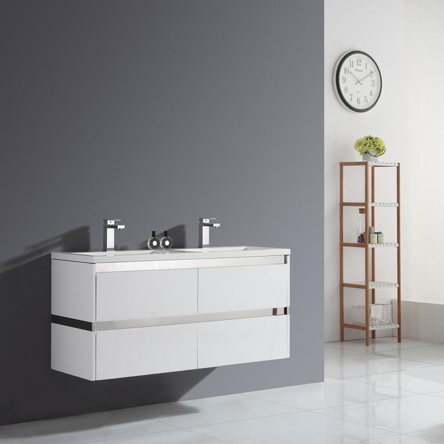 OVE Decors Durante Gloss White Integral Double Sink Bathroom Vanity with Solid Surface Top (Common: 48-in x 18-in; Actual: 47.6-in x 18.3-in)