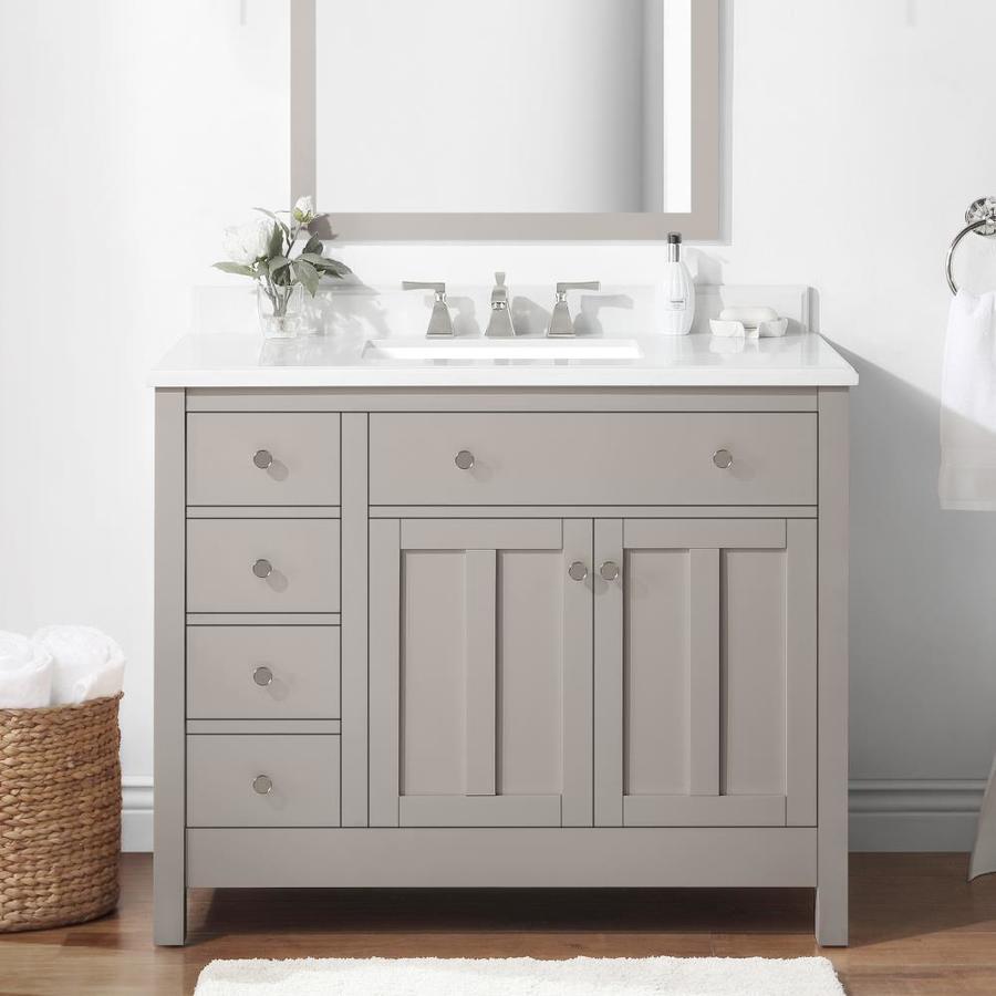 Martha Stewart Hillside 42 In Sharkey Gray Undermount Single Sink Bathroom Vanity With Yves Cultured Marble Top The Vanities Tops Department At Lowes Com