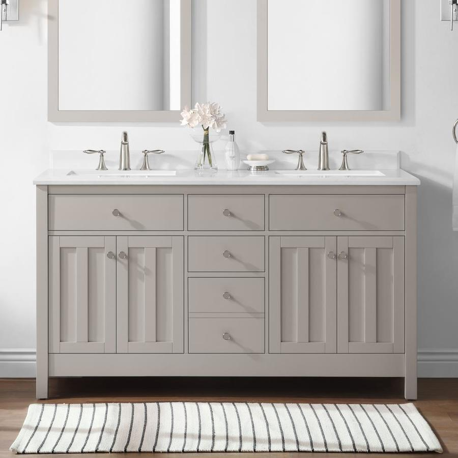Martha Stewart Hillside 60 In Sharkey Gray Undermount Double Sink Bathroom Vanity With Yves Engineered Stone Top The Vanities Tops Department At Lowes Com