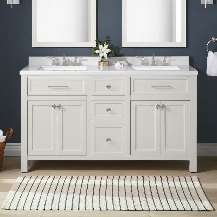 Martha Stewart Oakland 60 In White Undermount Double Sink Bathroom Vanity With Engineered Stone Top The Vanities Tops Department At Lowes Com