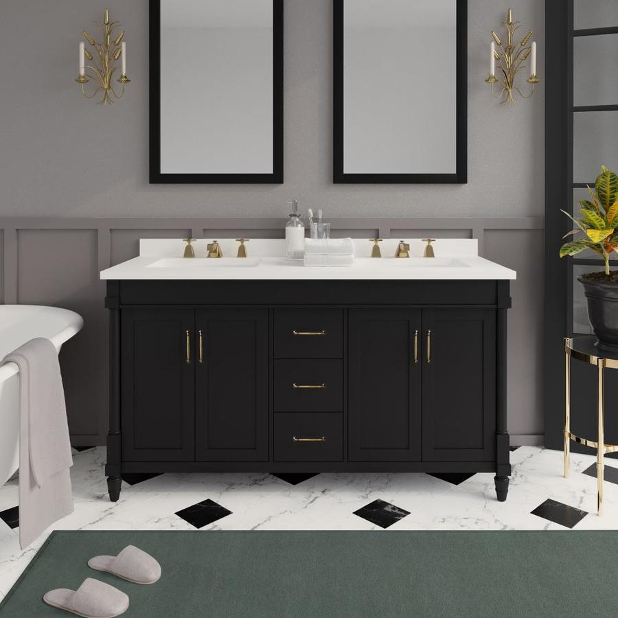 Martha Stewart Highfield 60 In Impress Black Undermount Double Sink Bathroom Vanity With Yves Cultured Marble Top The Vanities Tops Department At Lowes Com