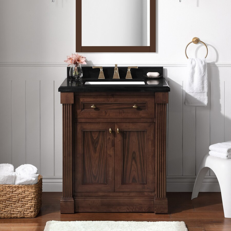 Martha Stewart Gables 30 In Rosewood Undermount Single Sink Bathroom Vanity With Black Granite Top The Vanities Tops Department At Lowes Com