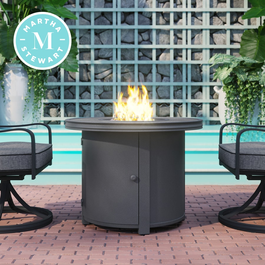Martha Stewart Thornfield 32 75 In W 30000 Btu Charcoal Portable Tabletop Aluminum Fire Table In The Gas Fire Pits Department At Lowes Com