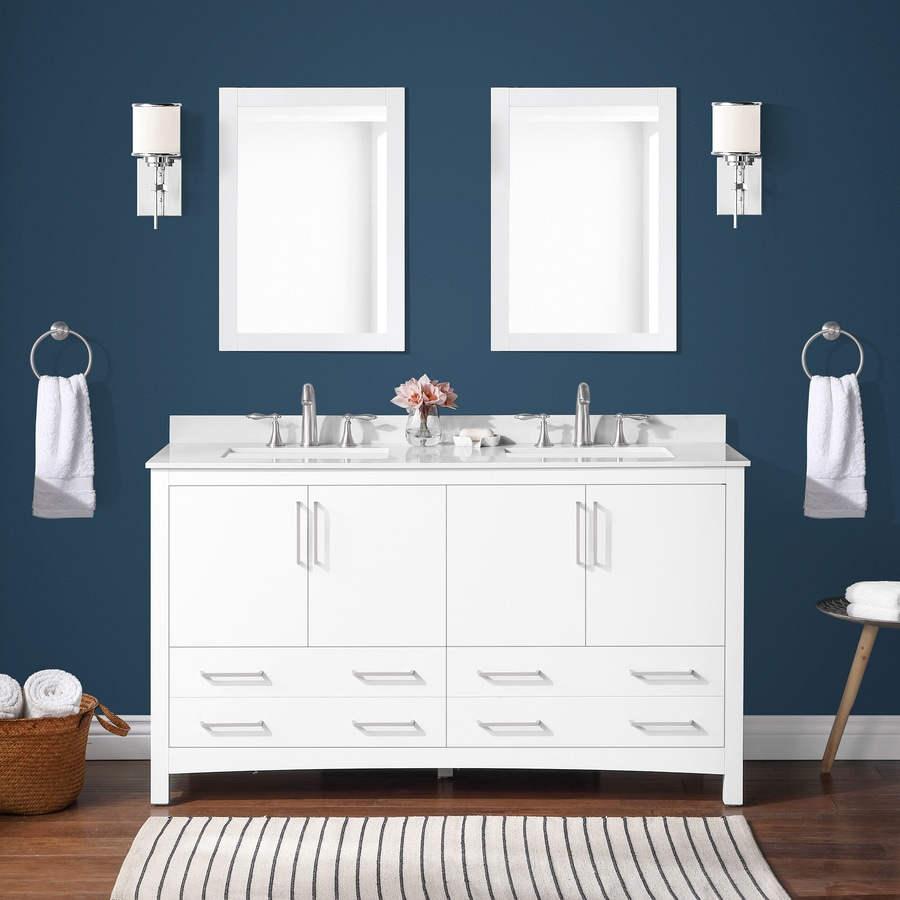 Allen Roth 60 In White Undermount Double Sink Bathroom Vanity With White Engineered Stone Top Mirror Included In The Bathroom Vanities With Tops Department At Lowes Com